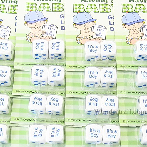 It is a Baby Boy Dice White with Blue Pips D6 16mm (5/8in) Pack of 12 Sets Koplow Games
