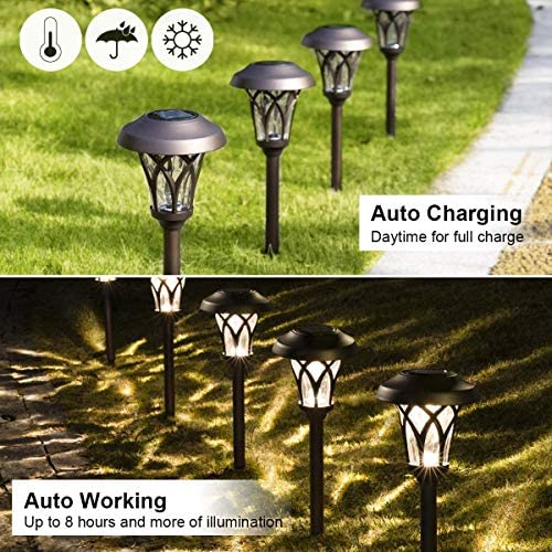 Solar Pathway Lights Outdoor, 4 Pcs Super Bright High Lumen Solar Powered LED Garden Lights for Lawn, Patio, Yard. White