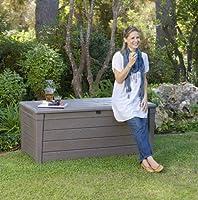 Chalet-Jardin 12COFFRELUXE455L - Baúl de Almacenamiento para jardín (455 L), Color Gris: Amazon.es: Jardín