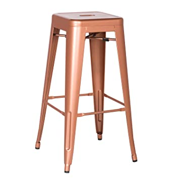 carlisle metal counter stool canada height stools new bar polished surface glossy copper backless swivel
