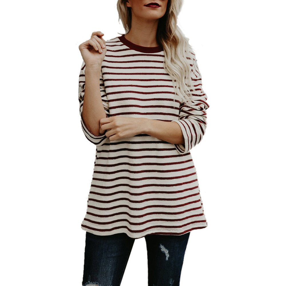 Blouse For Women-Clearance Sale, Farjing Casual O Neck Stripe Print Long Sleeves Blouses Tops T-Shirt(US:10/XL,Beige )