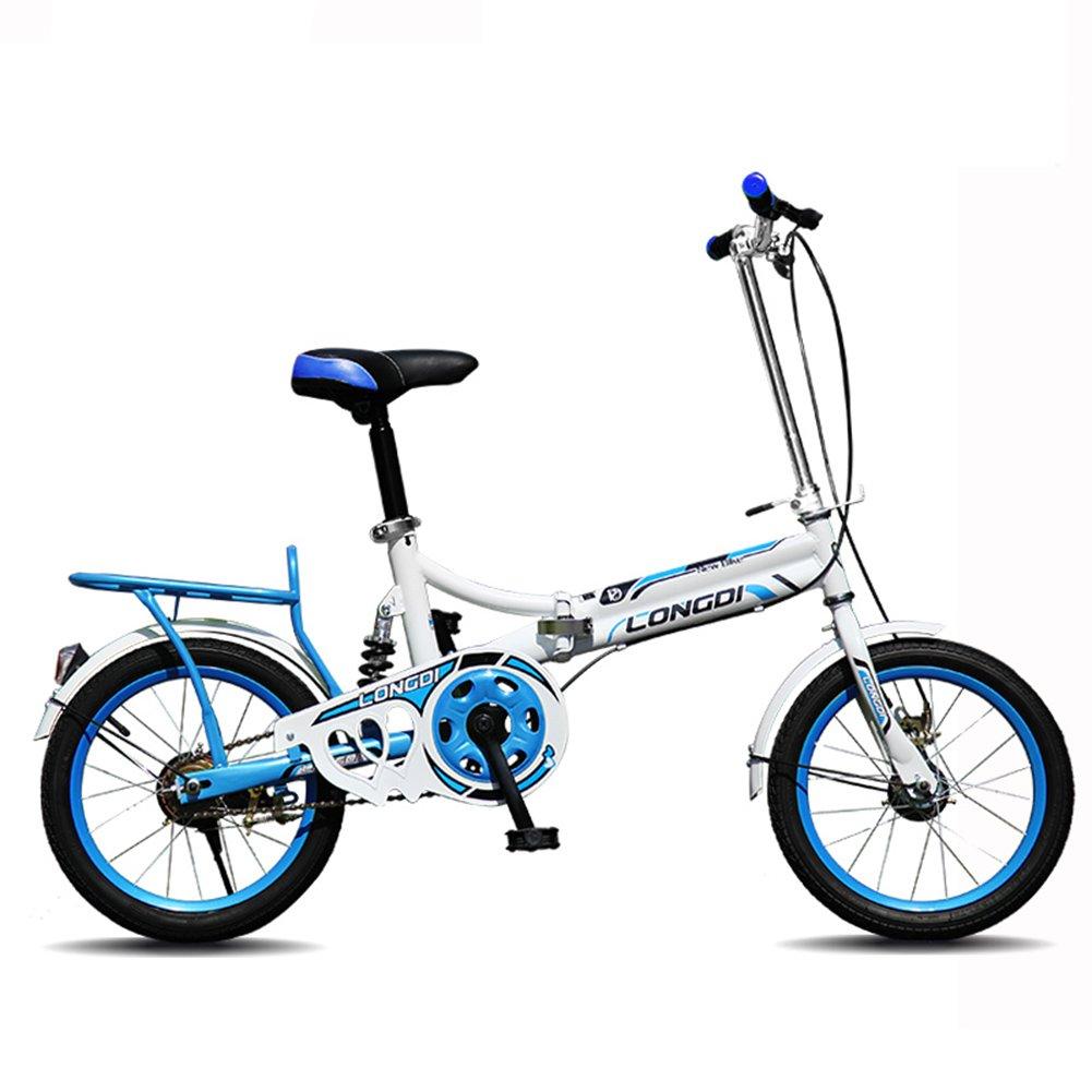 XQ チャイルドフォールド自転車16/20インチ大人超軽量ポータブル男性と女性の学生自転車 子ども用自転車 ( 色 : 青 , サイズ さいず : 20-inch ) B07CJVFQ5X 20-inch|青 青 20-inch