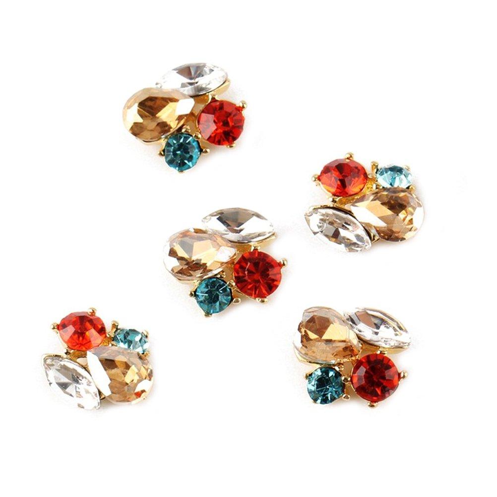 RAIN QUEEN 5Pcs Ronde Roux Cristal de Bijoux Accessoire Nail Art 3D Décoration Ongle