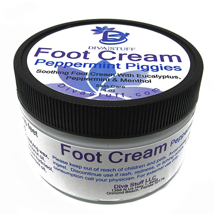 Diva Stuff Peppermint Piggies Soothing & Relaxing Foot Cream with Peppermint, Eucalyptus & Menthol, 4.5 oz (Made in the USA)