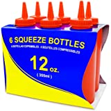 New Star Foodservice 26313 Squeeze Bottles, Plastic, 12 oz, Red, Pack of