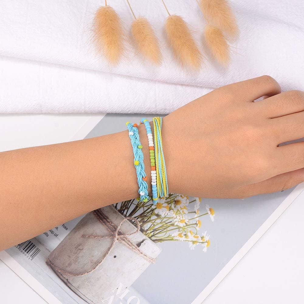 SUNSH Handmade Friendship Bracelets Adjustable Waterproof Woven String Sunflower Ocean Wave Charm Beach Boho Hawaii Jewelry Gifts for Women Girls
