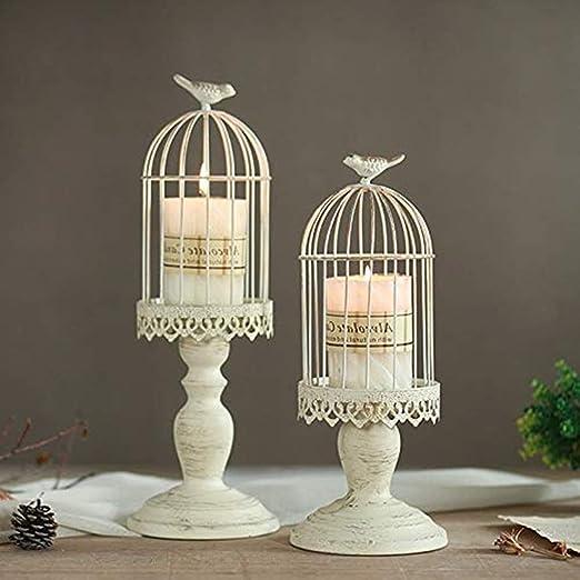 Candeleros de retro con forma de jaula de pájaro, decoraciones ...