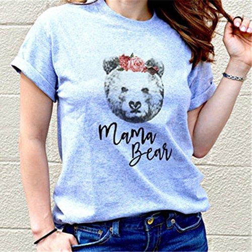 Stampate Orso Famiglia Estate Con Grigio A Carino Mama La T Corte shirt Vestiti Maniche Bozevon Per AfpqxwRwg