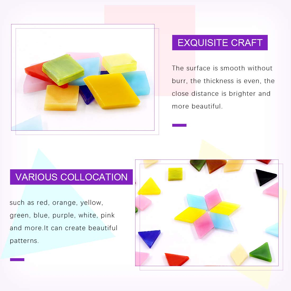 Genuine Mosaic Tiles Glass Pieces Mosaic Perfect for Home Decoration Crafts Supply Swpeet 1 Pound Mosaic Tiles Mixed Color Mosaic Glass Pieces with Organizing Container Panchromatic, Assortment Kit