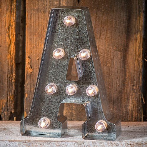 Darice Silver Metal Marquee Letter A – Industrial, Vintage Style Light Up Letter Includes an On/Off Switch, Perfect for Events or Home Décor (5915-702) from Darice