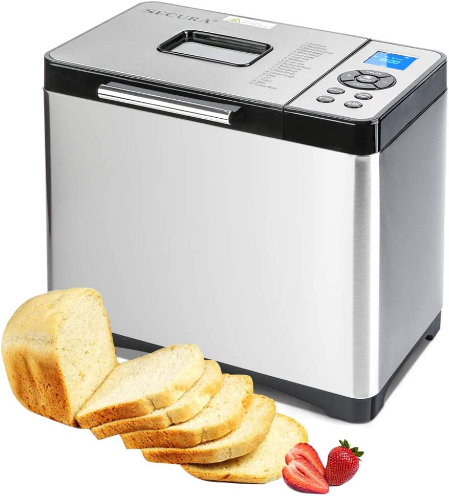 Secura Bread Maker Machine 2.2lb Stainless Steel Toaster Makers 650W Multi-Use Programmable 19 Menu Settings for Home Bakery Silver Pearl