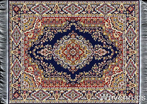 Blue Oriental Woven Rug Mouse Pad Turkish Style Carpet
