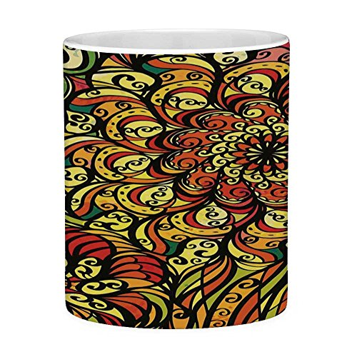 Lead Free Ceramic Coffee Mug Tea Cup White Colorful 11 Ounces Funny Coffee Mug Abstract Vintage Style Curly Floral Design Spirals Swirled Petals Creative Vibrant Multicolor