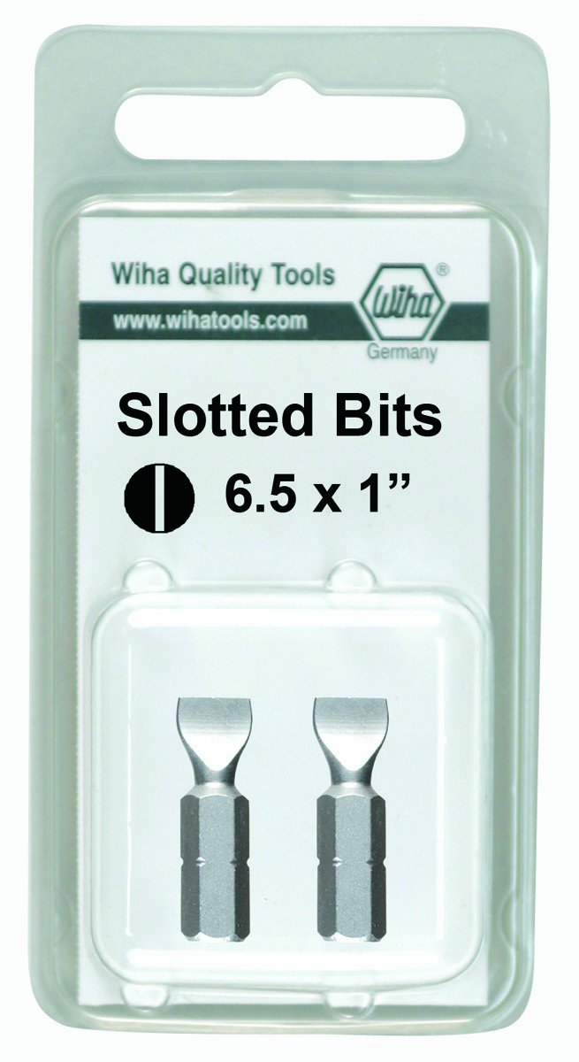 Wiha 71053 6.0 x 25mm Slotted Insert Bit 2 Pack