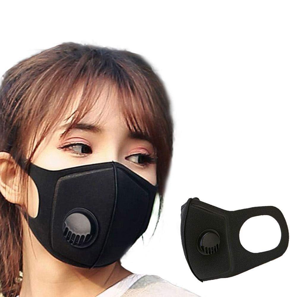 BAO 2 mascarillas Antipolvo para Hombre y Mujer, anticontaminación PM2.5 para la Cara, respirador de la Boca, Color Negro, Transpirable, Filtro de válvula 3D, Cubierta de Boca