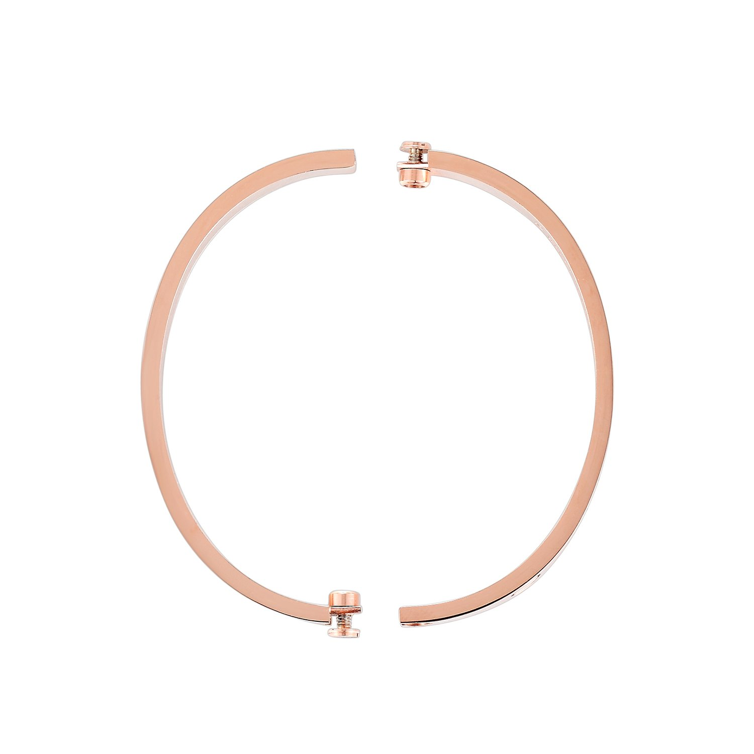 Z.RACLE Love Bangle Bracelet Stainless Steel with Screw - Best Gift for Love - 6.3IN Rose Gold CZ by Z.RACLE (Image #2)