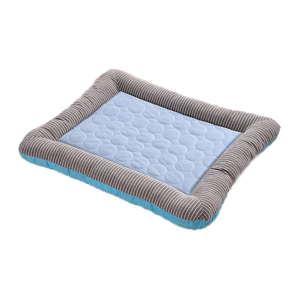 bluee Large bluee Large Summer Ice Silk Mats color Cat Litter Small and Medium Multi-Functional Iced Pet Nest Rectangular Four Seasons Universal Dog Cat Mat,bluee,L