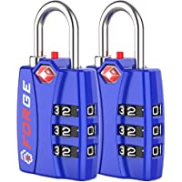 Forge TSA Locks 2 Pack - Open Alert Indicator, Alloy Body and Hardened Steel Shackle with Re-settable 3-Digit…