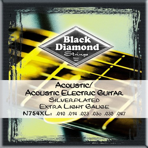 Black Diamond 754XL Acoustic-Electric Silverplated Guitar Strings, Extra Light