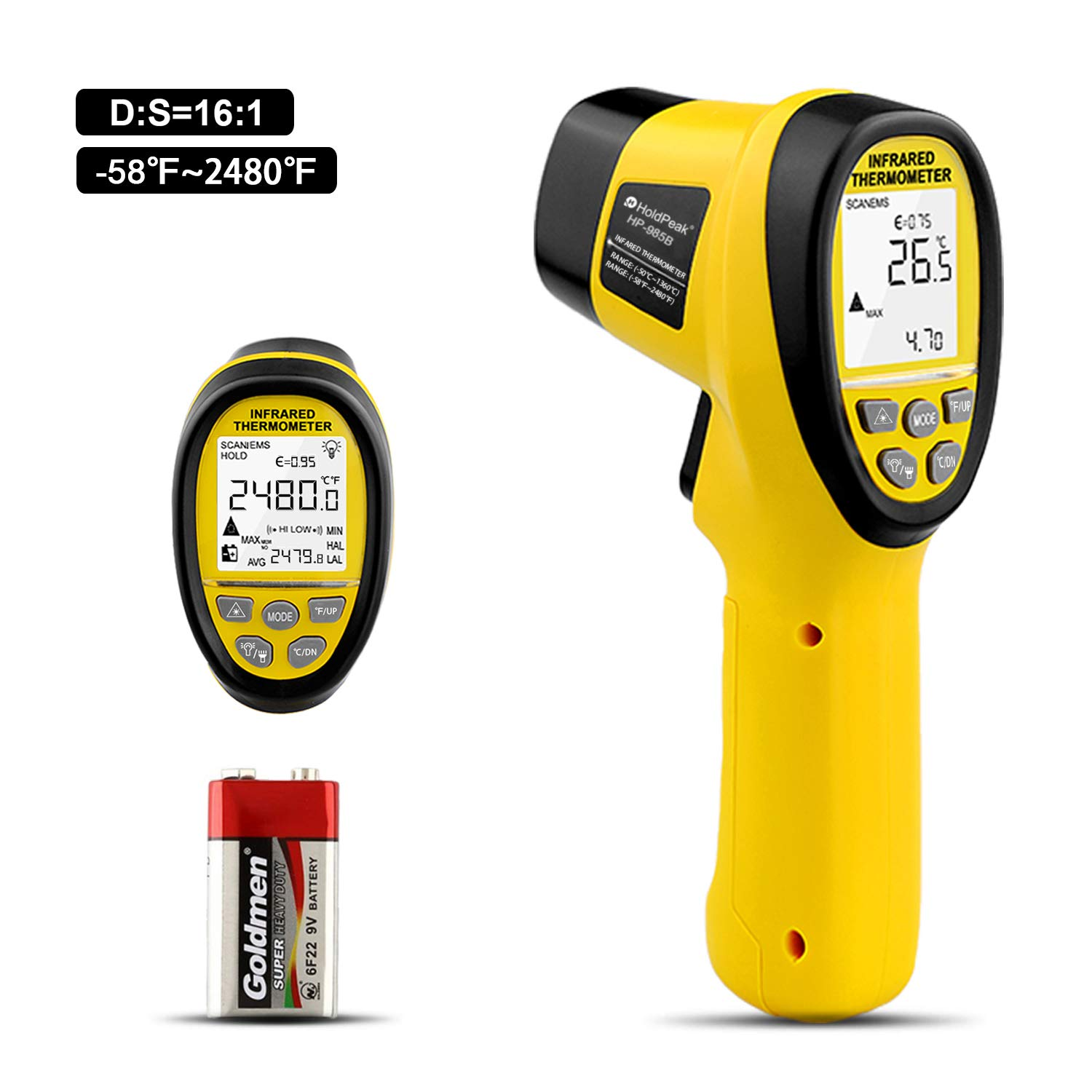 HOLDPEAK HP-985B Digital Infrared Thermometer Dual Laser Thermometer Non-Contact Temperature Gun -58℉~2480℉ (-50℃~1360℃) with Data Hold & Adjustable Emissivity for Forge Melting Furnace Kilns Industry