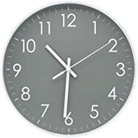 Modern Simple Wall Clock Indoor Non-Ticking Sweep Decorative Wall Clocks Battery Operated with Clear Numbers Easy to…