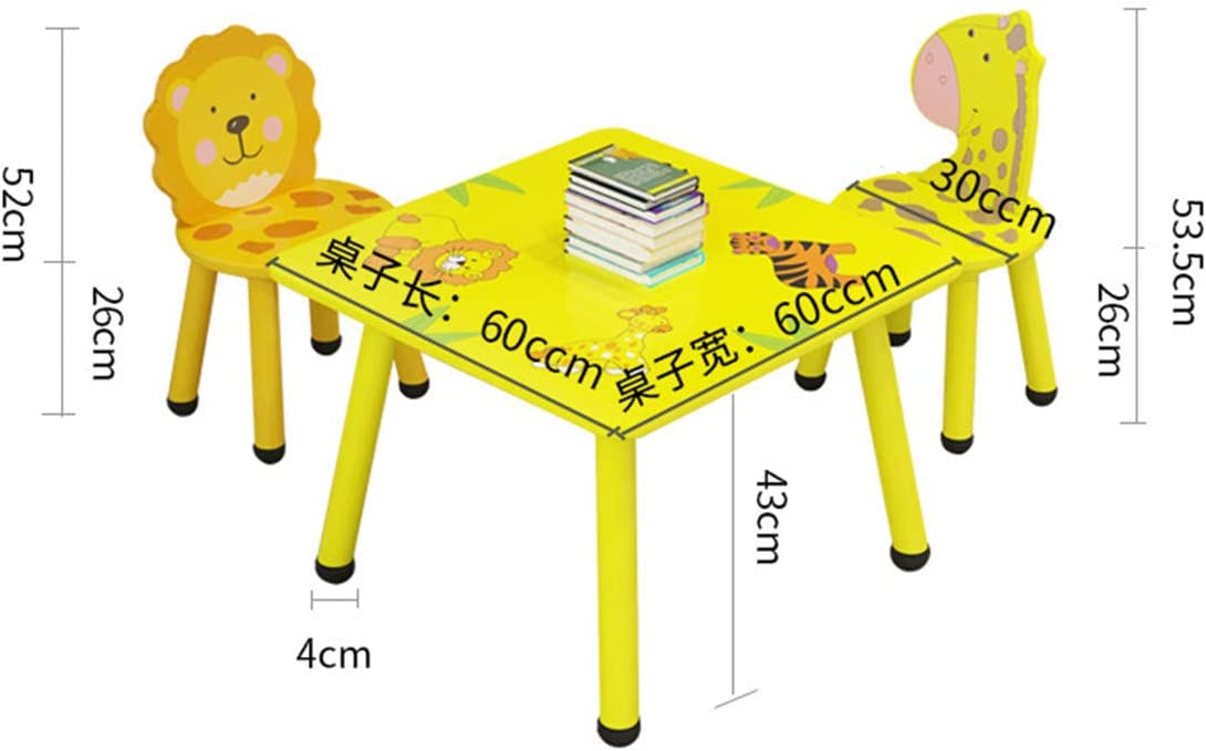 DDHZTA Childrens Wood Safari Table & Chairs 3/4 Chairs Set Childrens Furniture,Kids Toddlers Childs for Living Room, Bedroom- Gift,B C