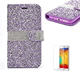 For Samsung Galaxy S7 Edge Case.Funyye Premium Practical PU leather Magnetic Flip Folio Stand Book Style with Card Holders Bling Glitter Shinning Rhinestone Full Protection Case Cover for Samsung Galaxy S7 Edge-Purple