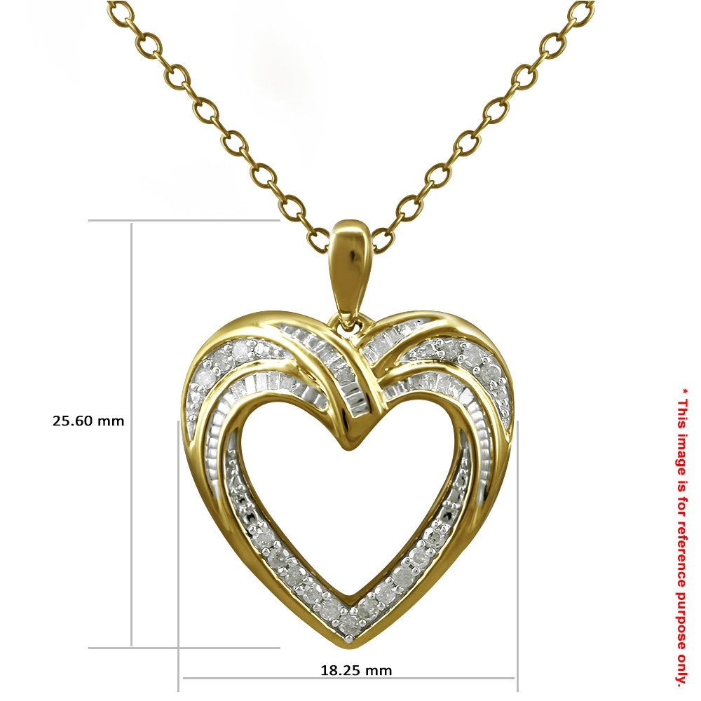 Christmas Gifts Pendant Necklace Earring Set For Women: .925 Sterling Silver Real Baguette Round Diamonds Yellow Plating with Heart Shaped Design ( 0.25cttw IJ I2I3 Clarity) by Store Indya (Image #5)