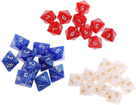 IPOTCH 30 Piezas 8 Lados Jugando Dados 1.6 cm Dungeon and Dragon Dice Juegos de Mesa de Matemáticas para Party Bar: Amazon.es: Juguetes y juegos