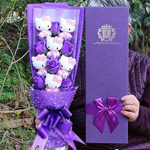 Vinyl dolls action figure toy+soap roses Cartoon Lovely HELLOKITTY Flower Bouquet Creative Valentine's Day (Purple) -