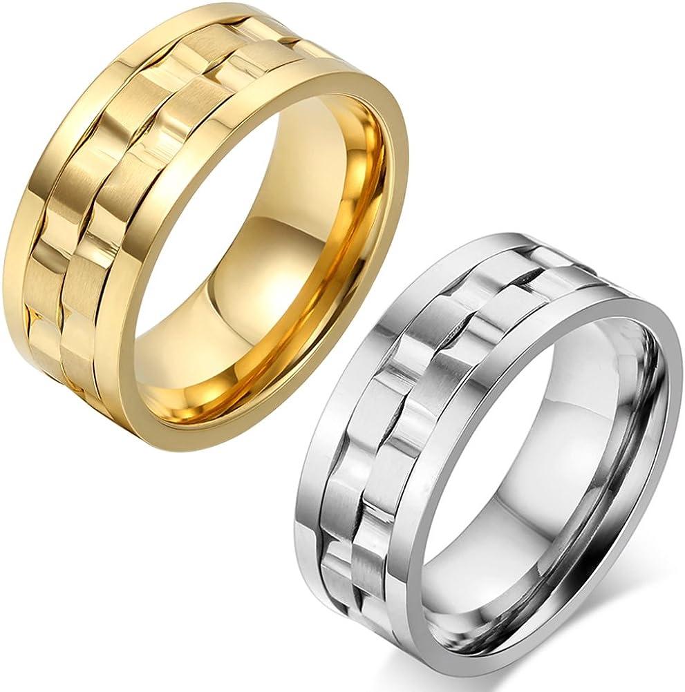 Taille Optionnel JewelryWe Bijoux Bague Mode Classique Tournante Acier Inoxydable Anneaux Fantaisie pour Homme Couleur Argent Largeur 9mm avec Sac Cadeau