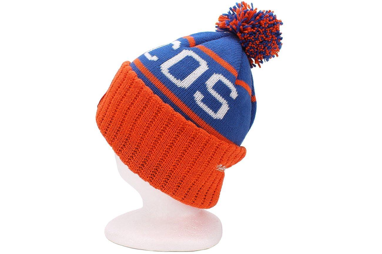 Mitchell /& Ness Denver Broncos Vintage Cuffed Pom Knit Cap//Beanie