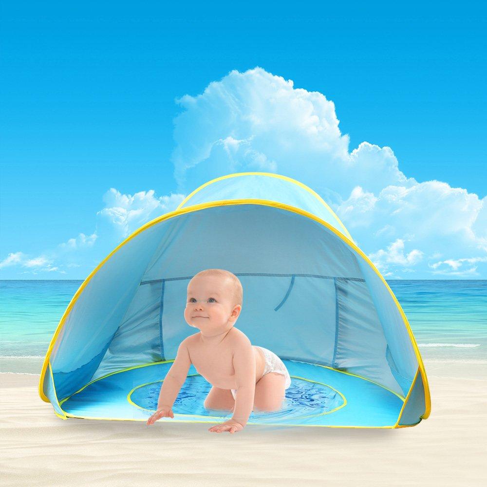 Tienda de Playa para Bebés,Oummit Pop-up Tienda de bebé con Pequeña Piscina Automática plegable Tienda Portátil Protección Solar Anti UV 50+ Muy Adecuado ...
