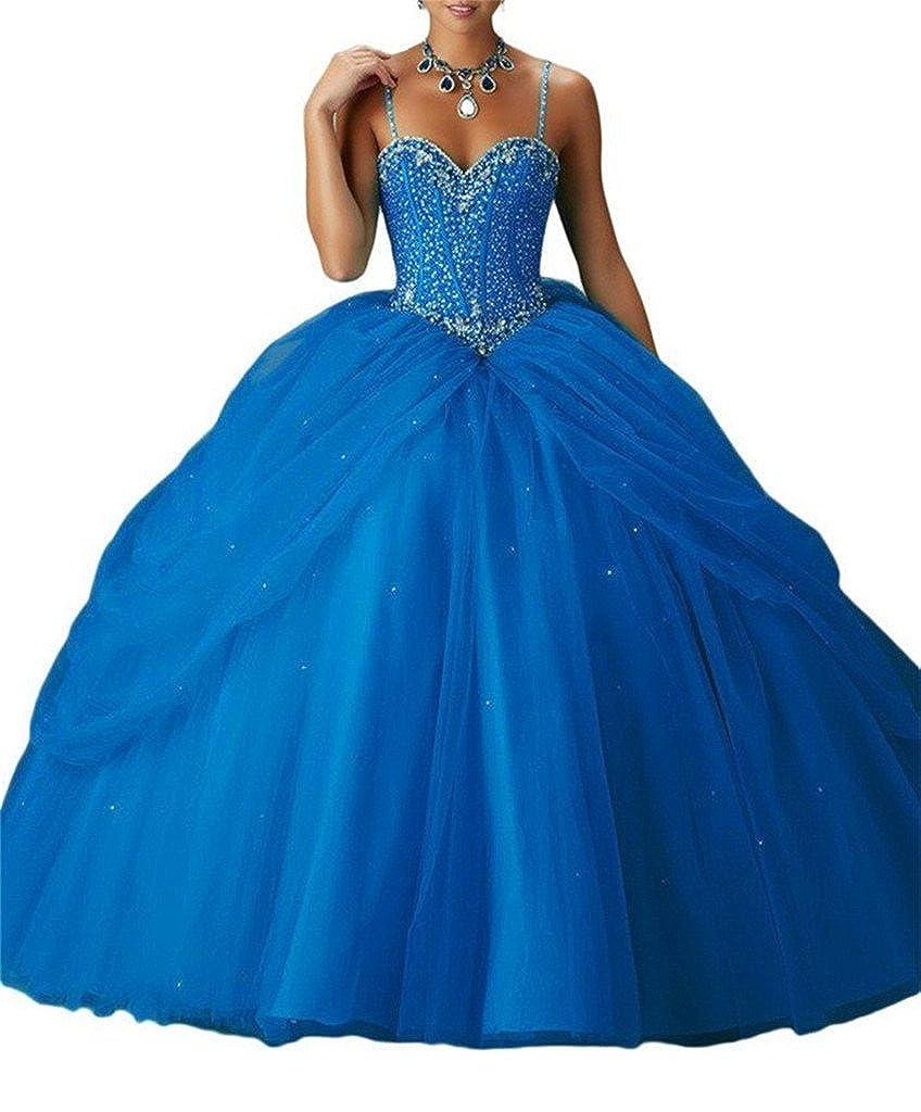 Royal bluee Yang Women's Spaghetti Sweetheart Girls Beaded Ball Gowns Floor Length Quinceanera Dresses