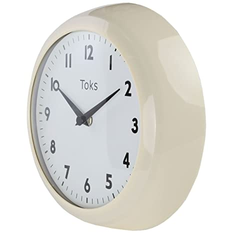 Lily\'s Home Retro Kitchen Wall Clock, Large Dial Quartz Timepiece, Ivory, 9  1/4 inch