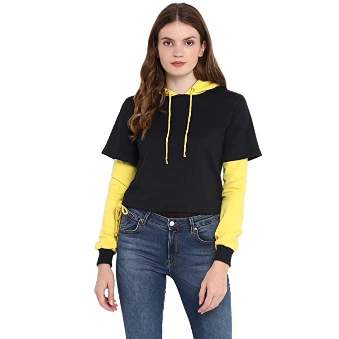 ae0d0125199 Alsace Lorraine Colour Block Black and Yellow Sweatshirt for Women  Size    S