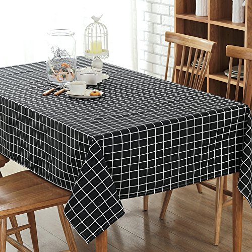 Check Linen (Bringsine Fashion Classic Rectangular Cotton Linen Black Check Washable Tablecloth Vintage Oblong Dinner Picnic Table Cloth Home Decoration Assorted Size)