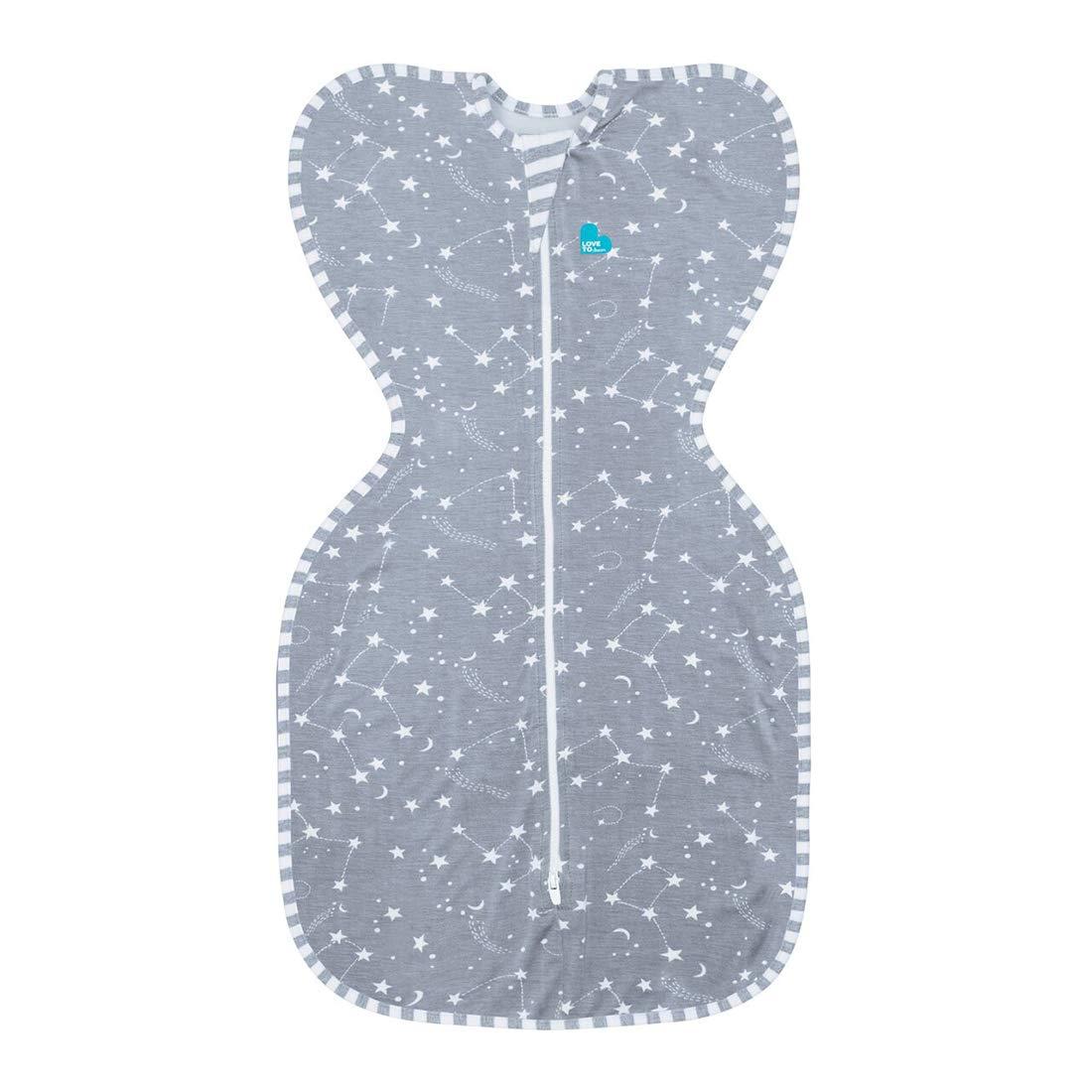 Love to Dream Bambus-Babyschlafanzug, Schlafsack, Wickeldecke, Grau mit Sternmuster, für 8,5-11kg für 8 5-11kg