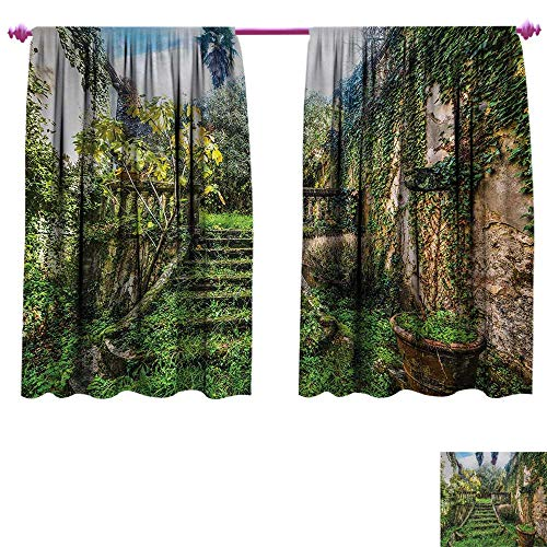 (Anniutwo Nature Decor Curtains by Ancient Fairytale Theme Hidden Garden with Botanic Trees Flowers Ivy Image Print Thermal Insulating Blackout Curtain W120 x L72 Multicolor)
