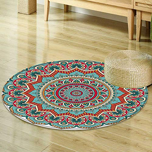Mikihome Small Round Rug Carpet Mandala Traditional Indian Circle Meditation Folk Spiritual Culture Print Turquoise Teal Orange Red Door mat Indoors Bathroom Mats Non Slip R-47 by Mikihome