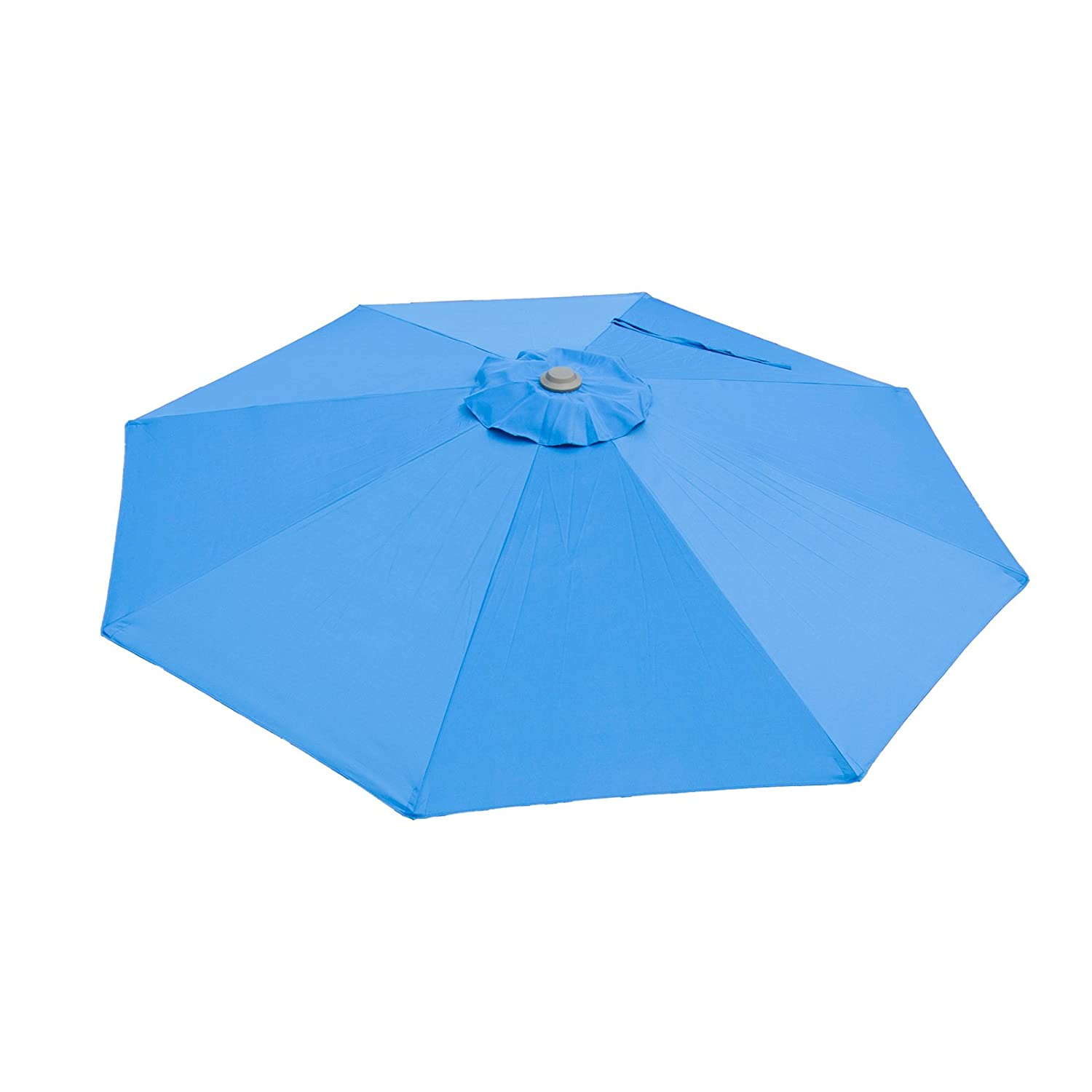 Caymus 9 Ft Market Outdoor Table Patio Umbrella with Push Button Tilt and Crank,8 Ribs,Blue
