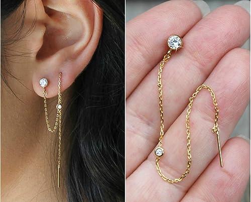 Fine Women 14K Rose Gold Hand Made CZ Star Threader Drop Earrings