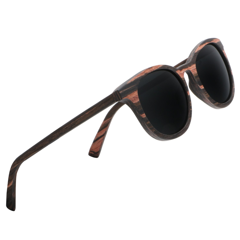Ablibi Men\'s Wood Bamboo Sunglasses Women Vintage Luxury Brand Designer Polarized Sun Glasses (ebony, gray)