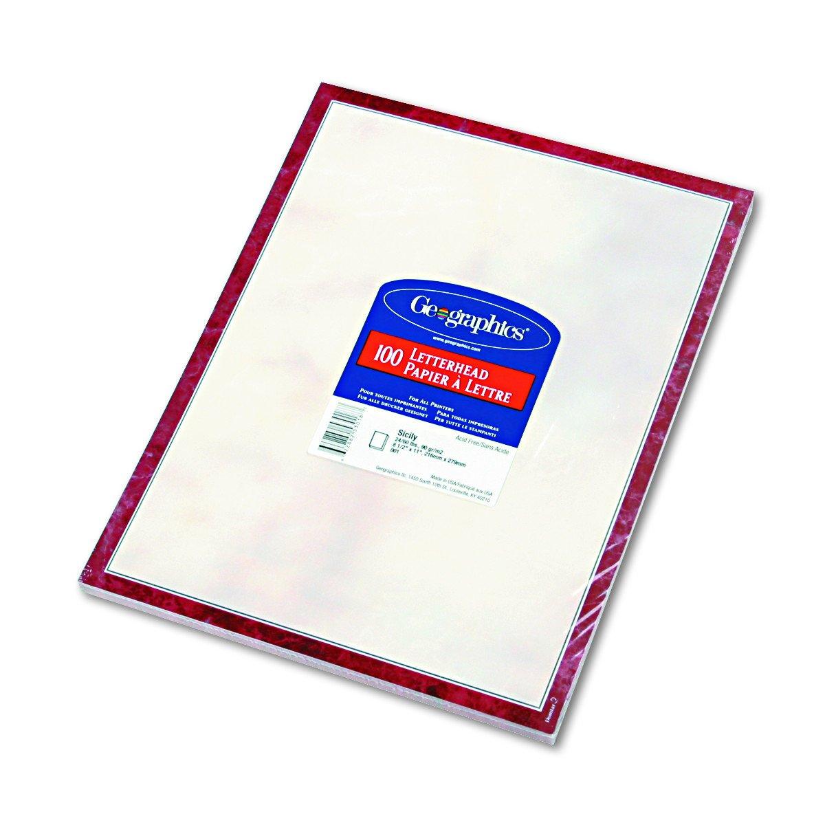 Geographics Design Paper, Sicily, 24lb, Letter, 100 Sheets/Pack (47373)