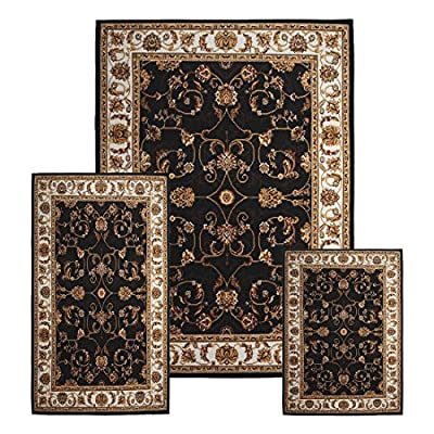 Traditional Medallion Persian 3 Pcs Area Rug Oriental Bordered Runner Mat Set [ Black Ivory ]