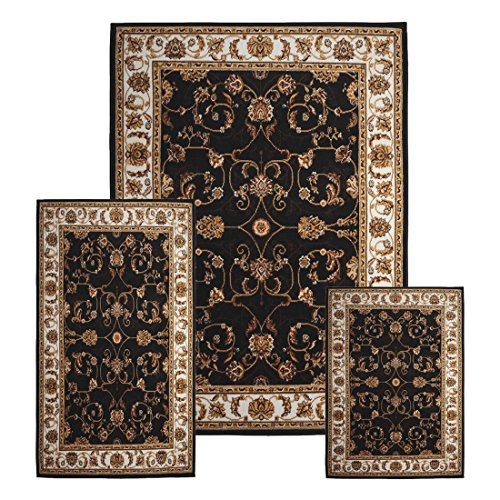 traditional-medallion-persian-3-pcs-area-rug-oriental-bordered-runner-mat-set-black-ivory-