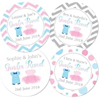 Personalised Gender Reveal baby shower stickers, blue babygro' and pink tutu' designs - 4 different patterns to choose from - packs of 24-60 mm in diameter