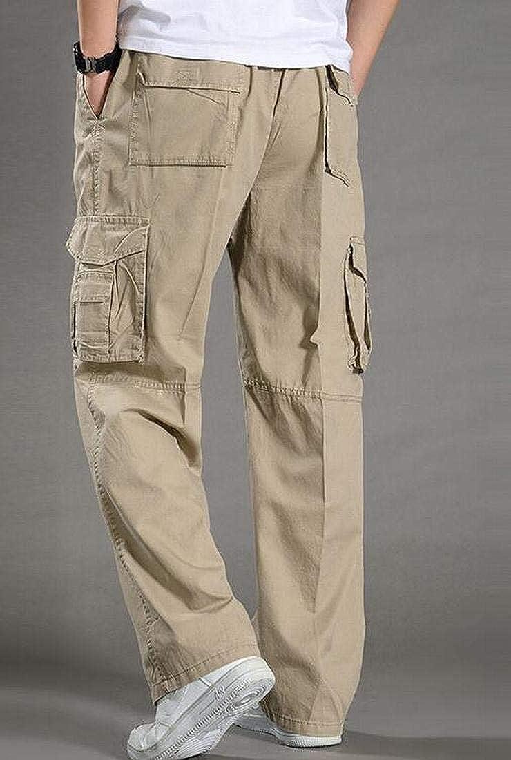 UUYUK Men Straight Leg Big and Tall Cotton Cargo Sport Pants