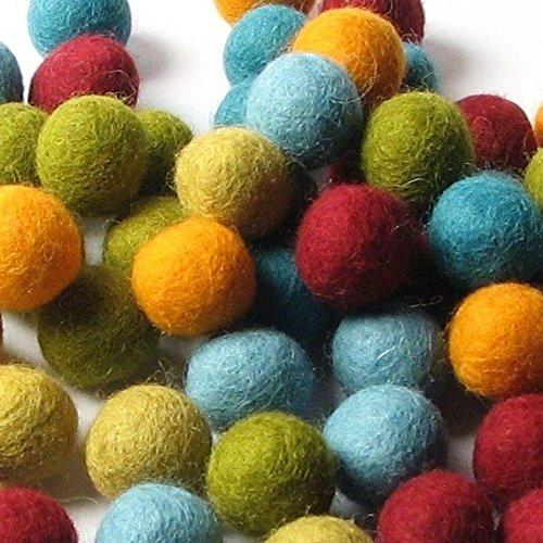 60 Hand-felted Wool Felt Balls 1.5 CM Scarf Mix Handbehg Felts Fiber Crafts