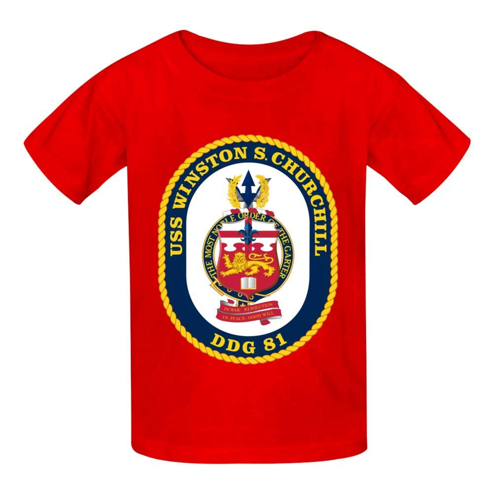 Churchill DDG 81 Boys Summer Slim Fit Pure Color Short Sleeve Casual T-Shirts USS Winston S